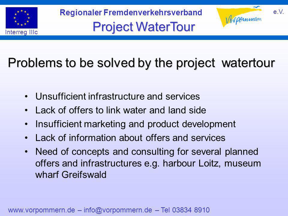 www.vorpommern.de – info@vorpommern.de – Tel 03834 8910 Regionaler Fremdenverkehrsverband e.V. Project WaterTour Interreg IIIc Problems to be solved b
