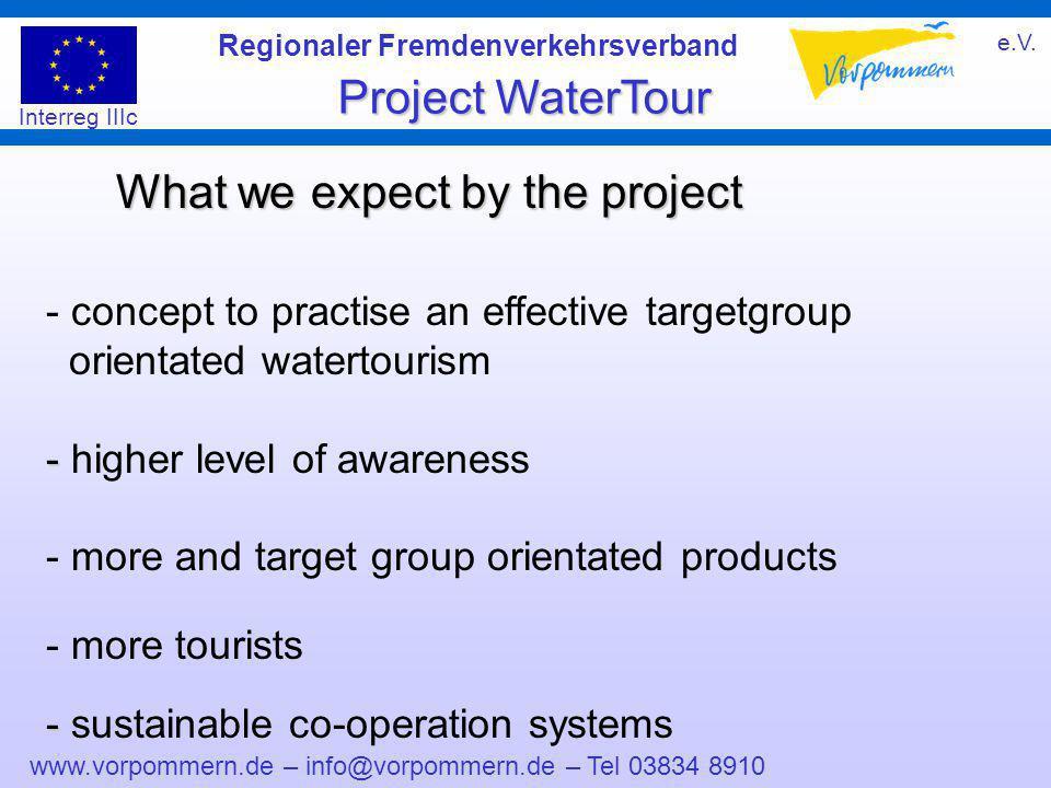 www.vorpommern.de – info@vorpommern.de – Tel 03834 8910 Regionaler Fremdenverkehrsverband e.V. Project WaterTour Interreg IIIc What we expect by the p