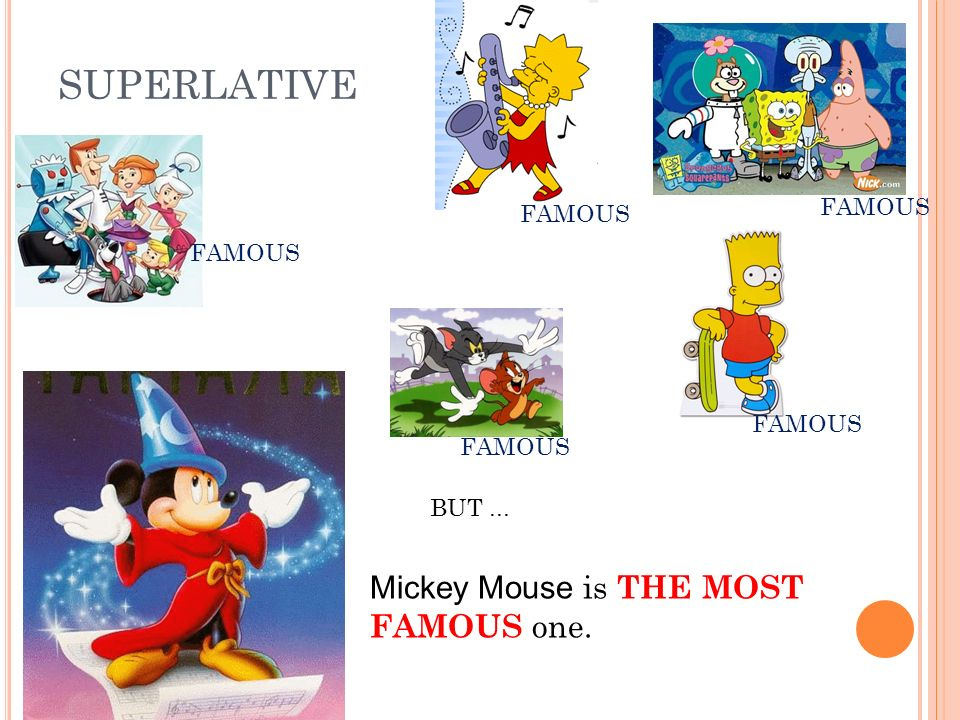 SUPERLATIVE FAMOUS BUT... Mickey Mouse is THE MOST FAMOUS one.