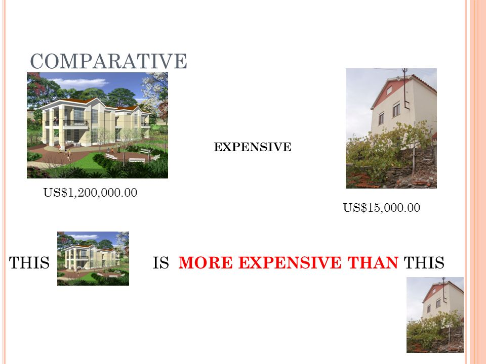COMPARATIVE US$1,200,000.00 US$15,000.00 EXPENSIVE THIS IS MORE EXPENSIVE THAN THIS
