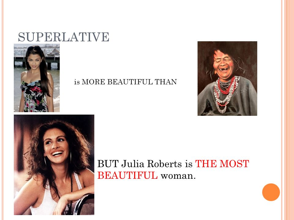 SUPERLATIVE is MORE BEAUTIFUL THAN BUT Julia Roberts is THE MOST BEAUTIFUL woman.