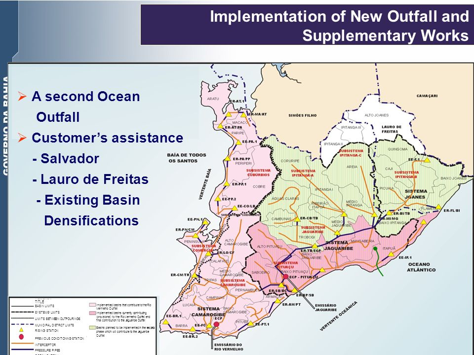 Implementation of New Outfall and Supplementary Works A second Ocean Outfall Customers assistance - Salvador - Lauro de Freitas - Existing Basin Densi