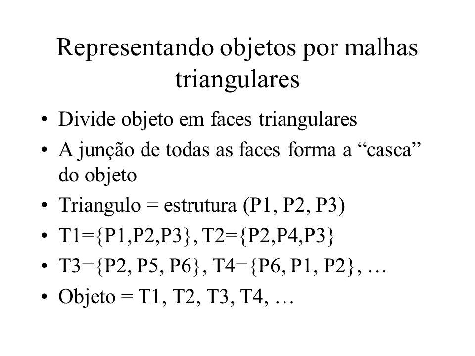 Representando objetos por malhas triangulares Divide objeto em faces triangulares A junção de todas as faces forma a casca do objeto Triangulo = estrutura (P1, P2, P3) T1={P1,P2,P3}, T2={P2,P4,P3} T3={P2, P5, P6}, T4={P6, P1, P2}, … Objeto = T1, T2, T3, T4, …