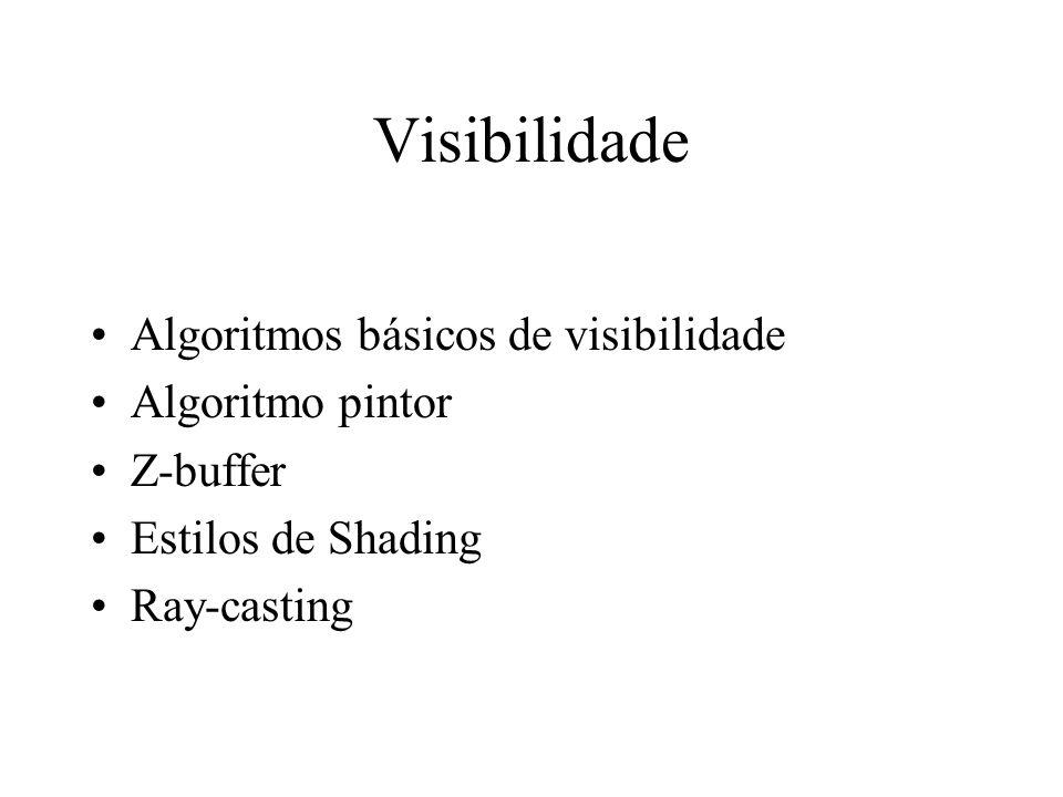 Visibilidade Algoritmos básicos de visibilidade Algoritmo pintor Z-buffer Estilos de Shading Ray-casting