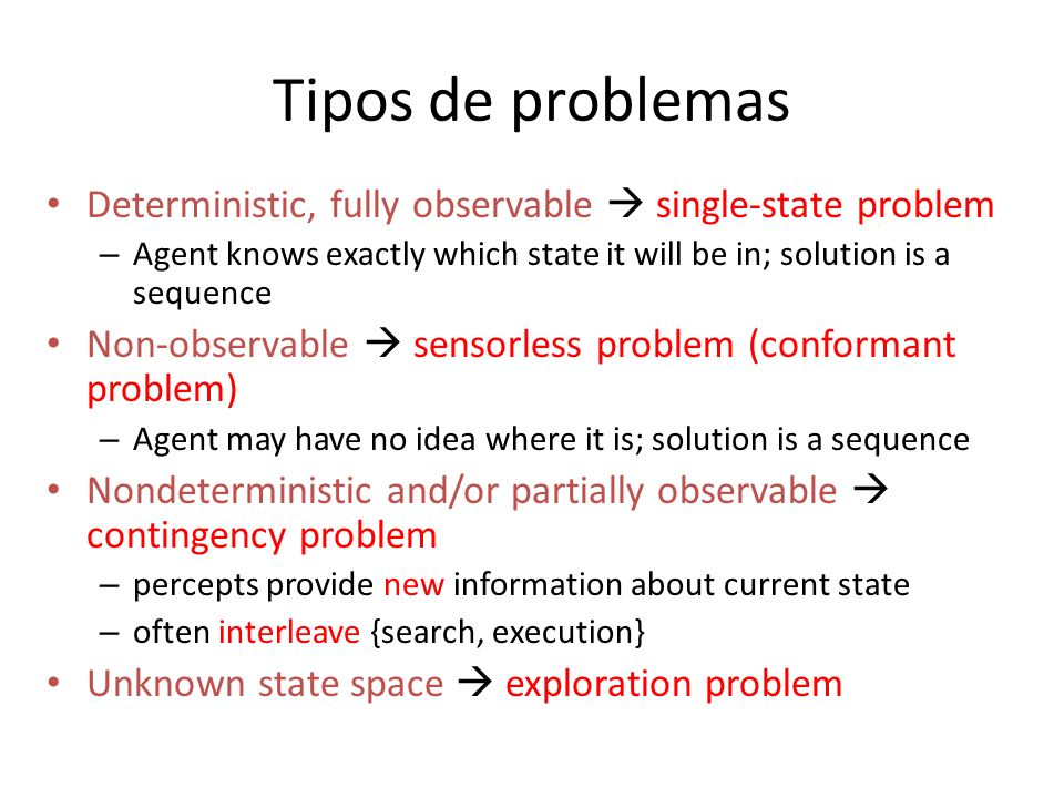 Tipos de problemas Deterministic, fully observable single-state problem – Agent knows exactly which state it will be in; solution is a sequence Non-ob