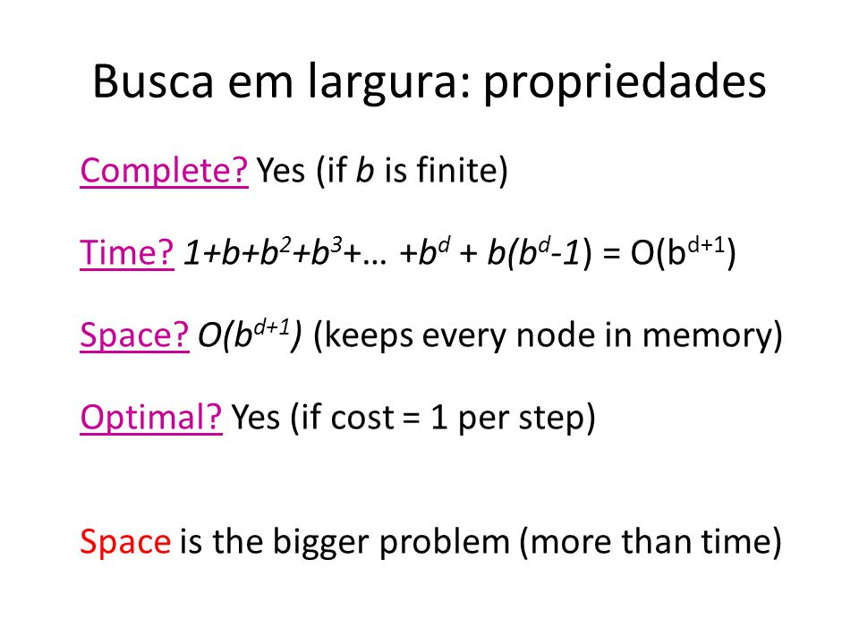 Busca em largura: propriedades Complete? Yes (if b is finite) Time? 1+b+b 2 +b 3 +… +b d + b(b d -1) = O(b d+1 ) Space? O(b d+1 ) (keeps every node in