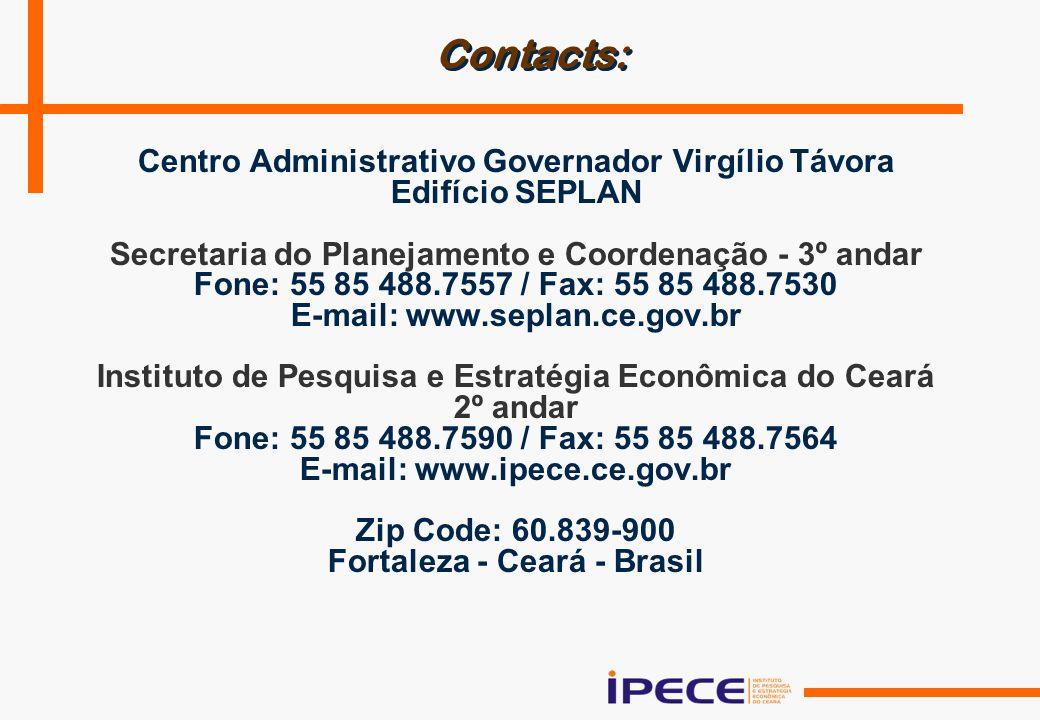 Contacts: Centro Administrativo Governador Virgílio Távora Edifício SEPLAN Secretaria do Planejamento e Coordenação - 3º andar Fone: 55 85 488.7557 / Fax: 55 85 488.7530 E-mail: www.seplan.ce.gov.br Instituto de Pesquisa e Estratégia Econômica do Ceará 2º andar Fone: 55 85 488.7590 / Fax: 55 85 488.7564 E-mail: www.ipece.ce.gov.br Zip Code: 60.839-900 Fortaleza - Ceará - Brasil