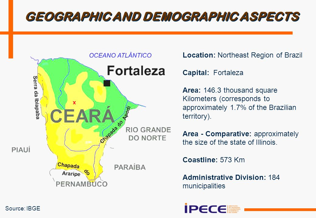 Source: IBGE GEOGRAPHIC AND DEMOGRAPHIC ASPECTS Location: Northeast Region of Brazil Capital: Fortaleza Area: 146.3 thousand square Kilometers (corresponds to approximately 1.7% of the Brazilian territory).