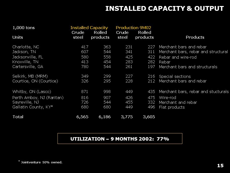 * Jointventure 50% owned. INSTALLED CAPACITY & OUTPUT UTILIZATION – 9 MONTHS 2002: 77% 15