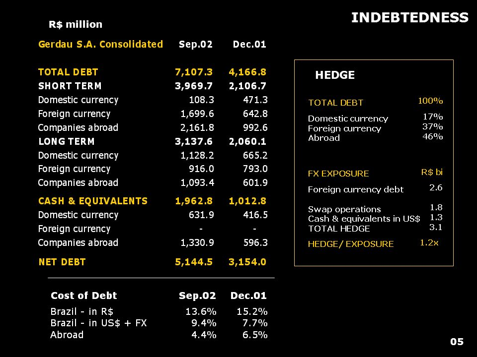 INDEBTEDNESS R$ million HEDGE 05