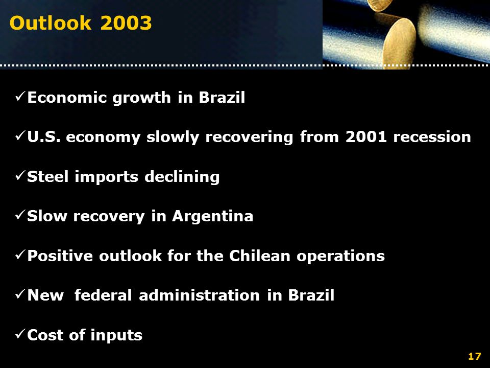 Outlook 2003 Economic growth in Brazil U.S. economy slowly recovering from 2001 recession Steel imports declining Slow recovery in Argentina Positive