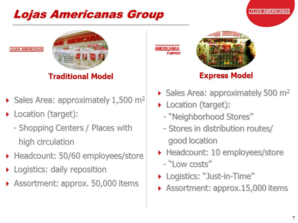 7 7 Lojas Americanas Group Traditional Model Express Model Sales Area: approximately 1,500 m 2 Sales Area: approximately 1,500 m 2 Location (target): Location (target): - Shopping Centers / Places with - Shopping Centers / Places with high circulation high circulation Headcount: 50/60 employees/store Headcount: 50/60 employees/store Logistics: daily reposition Logistics: daily reposition Assortment: approx.