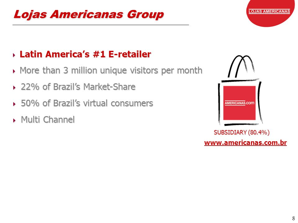 8 8 Lojas Americanas Group SUBSIDIARY (80.4%) www.americanas.com.br Latin Americas #1 E-retailer Latin Americas #1 E-retailer More than 3 million unique visitors per month More than 3 million unique visitors per month 22% of Brazils Market-Share 22% of Brazils Market-Share 50% of Brazils virtual consumers 50% of Brazils virtual consumers Multi Channel Multi Channel