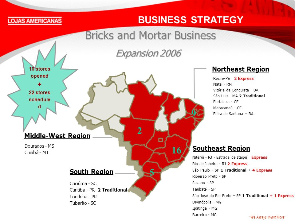 We Always Want More 16 2 5 9 BUSINESS STRATEGY Bricks and Mortar Business Niterói - RJ - Estrada de Itaipú Express Rio de Janeiro - RJ 2 Express São Paulo – SP 1 Traditional + 4 Express Ribeirão Preto - SP Suzano - SP Taubaté - SP São José do Rio Preto – SP 1 Traditional + 1 Express Divinópolis - MG Ipatinga - MG Barreiro - MG Northeast Region Southeast Region Middle-West Region Recife-PE 2 Express Natal - RN Vitória da Conquista - BA São Luis - MA 2 Traditional Fortaleza - CE Maracanaú - CE Feira de Santana – BA Criciúma - SC Curitiba - PR 2 Traditional Londrina - PR Tubarão - SC Dourados - MS Cuiabá - MT 10 stores opened + 22 stores schedule d South Region Expansion2006 Expansion 2006