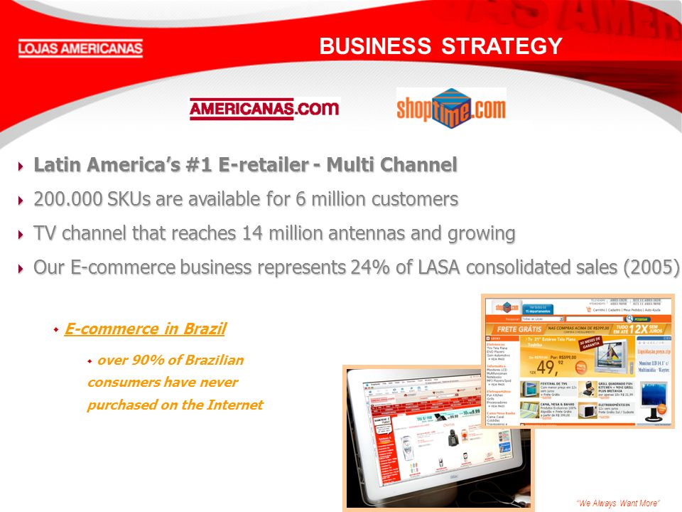 We Always Want More Latin Americas #1 E-retailer - Multi Channel Latin Americas #1 E-retailer - Multi Channel 200.000 SKUs are available for 6 million customers 200.000 SKUs are available for 6 million customers TV channel that reaches 14 million antennas and growing TV channel that reaches 14 million antennas and growing Our E-commerce business represents 24% of LASA consolidated sales (2005) Our E-commerce business represents 24% of LASA consolidated sales (2005) w E-commerce in Brazil w over 90% of Brazilian consumers have never purchased on the Internet BUSINESS STRATEGY