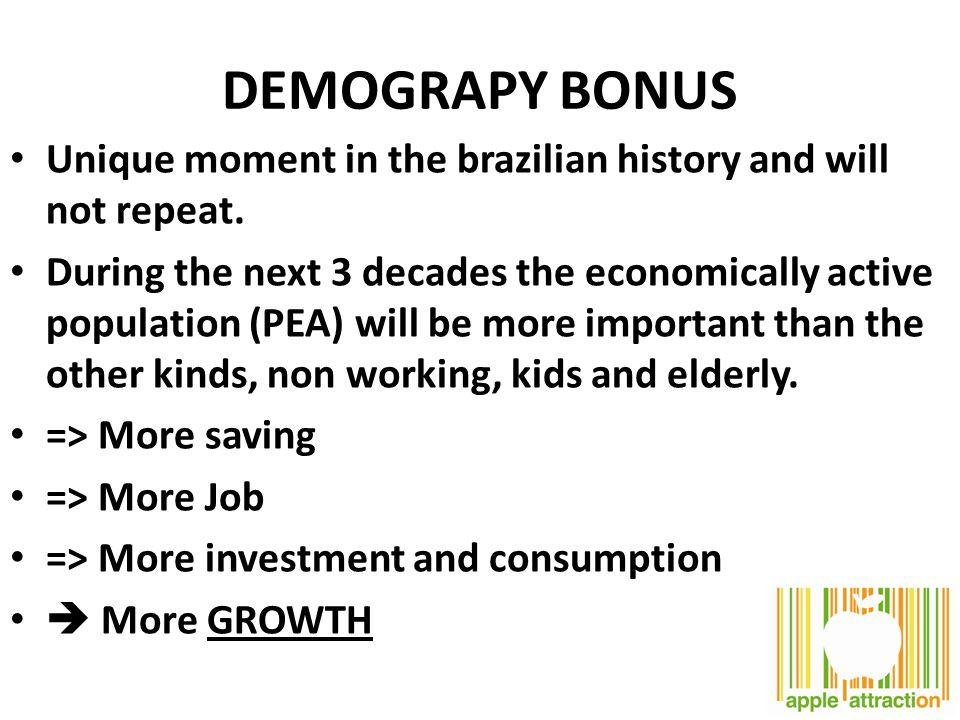 DEMOGRAPY BONUS Unique moment in the brazilian history and will not repeat.