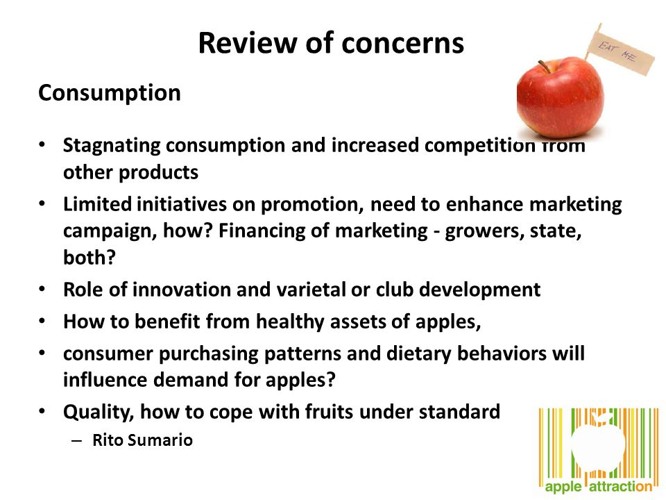Review of concerns Consumption Stagnating consumption and increased competition from other products Limited initiatives on promotion, need to enhance marketing campaign, how.