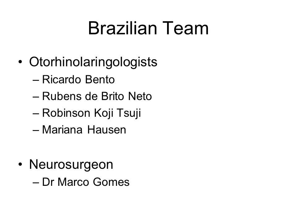 Brazilian Team Otorhinolaringologists –Ricardo Bento –Rubens de Brito Neto –Robinson Koji Tsuji –Mariana Hausen Neurosurgeon –Dr Marco Gomes