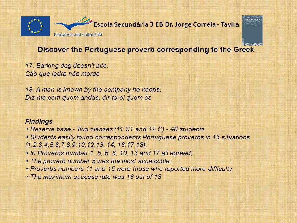 Escola Secundária 3 EB Dr. Jorge Correia - Tavira Discover the Portuguese proverb corresponding to the Greek 17. Barking dog doesn't bite. Cão que lad