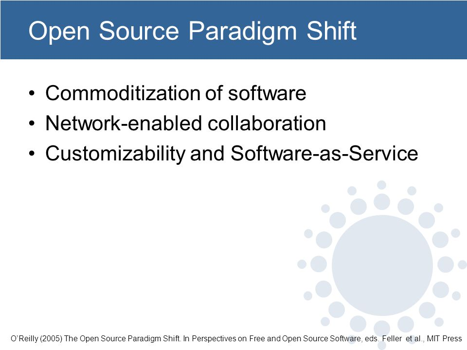 Open Source Paradigm Shift Commoditization of software Network-enabled collaboration Customizability and Software-as-Service OReilly (2005) The Open Source Paradigm Shift.