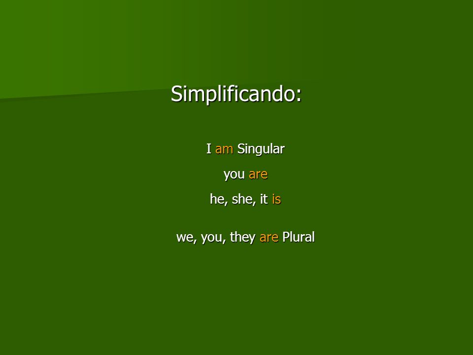Simplificando: I am Singular you are he, she, it is we, you, they are Plural