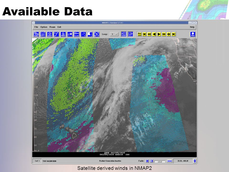 Available Data Satellite derived winds in NMAP2