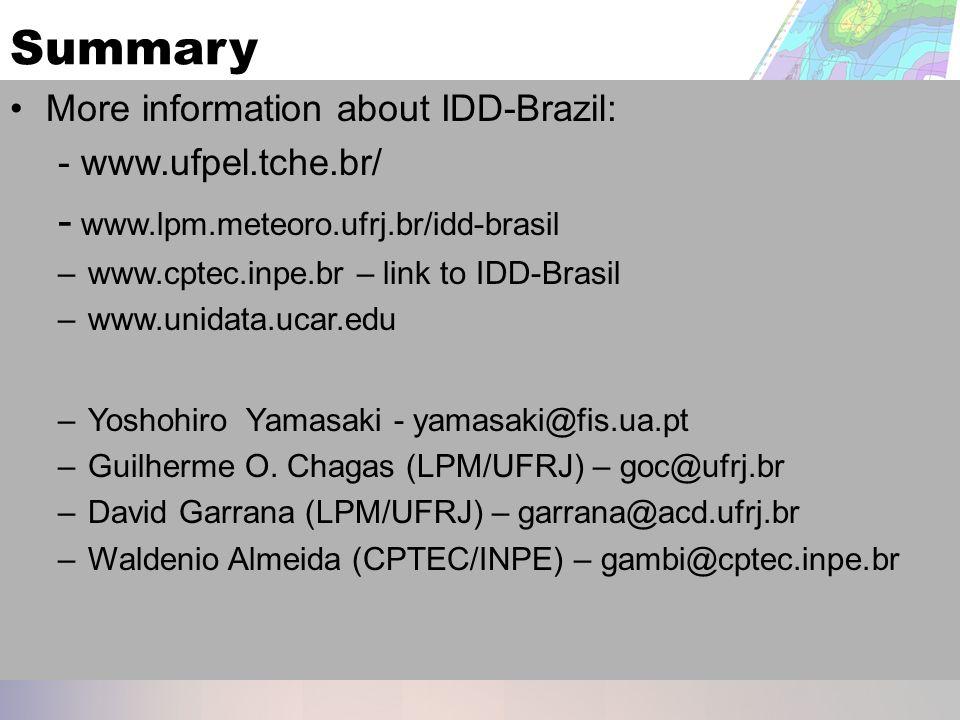 Summary More information about IDD-Brazil: - www.ufpel.tche.br/ - www.lpm.meteoro.ufrj.br/idd-brasil –www.cptec.inpe.br – link to IDD-Brasil –www.unidata.ucar.edu –Yoshohiro Yamasaki - yamasaki@fis.ua.pt –Guilherme O.