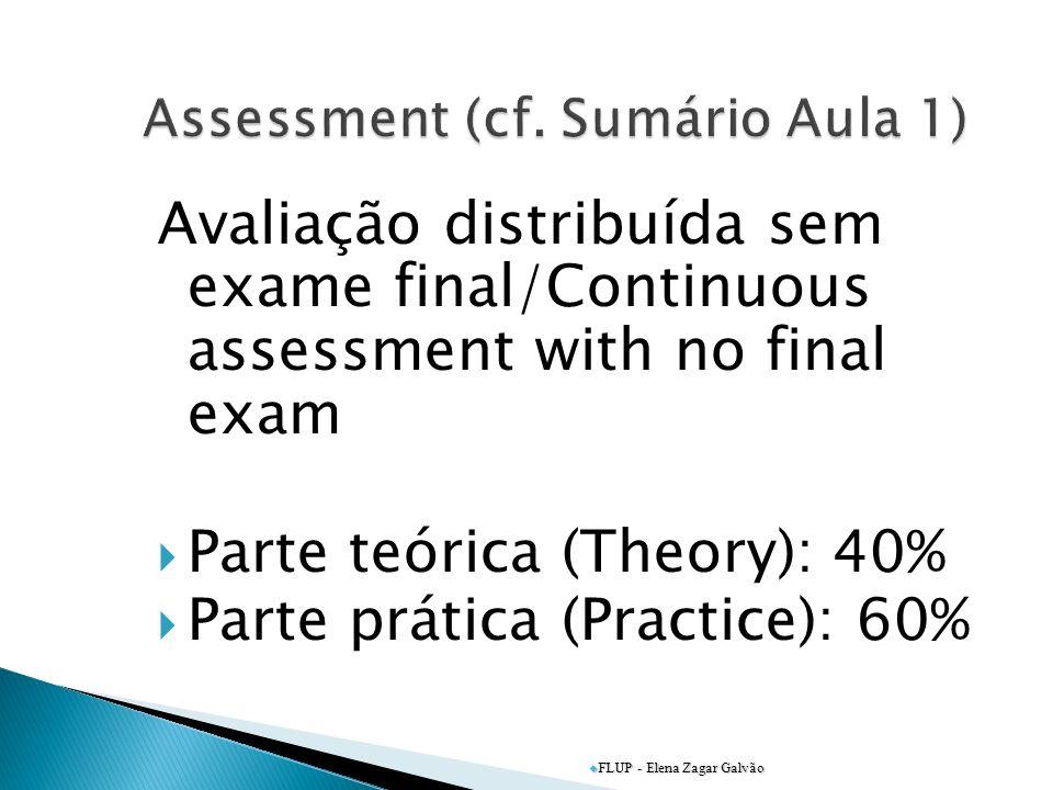 Avaliação distribuída sem exame final/Continuous assessment with no final exam Parte teórica (Theory): 40% Parte prática (Practice): 60% FLUP - Elena Zagar Galvão