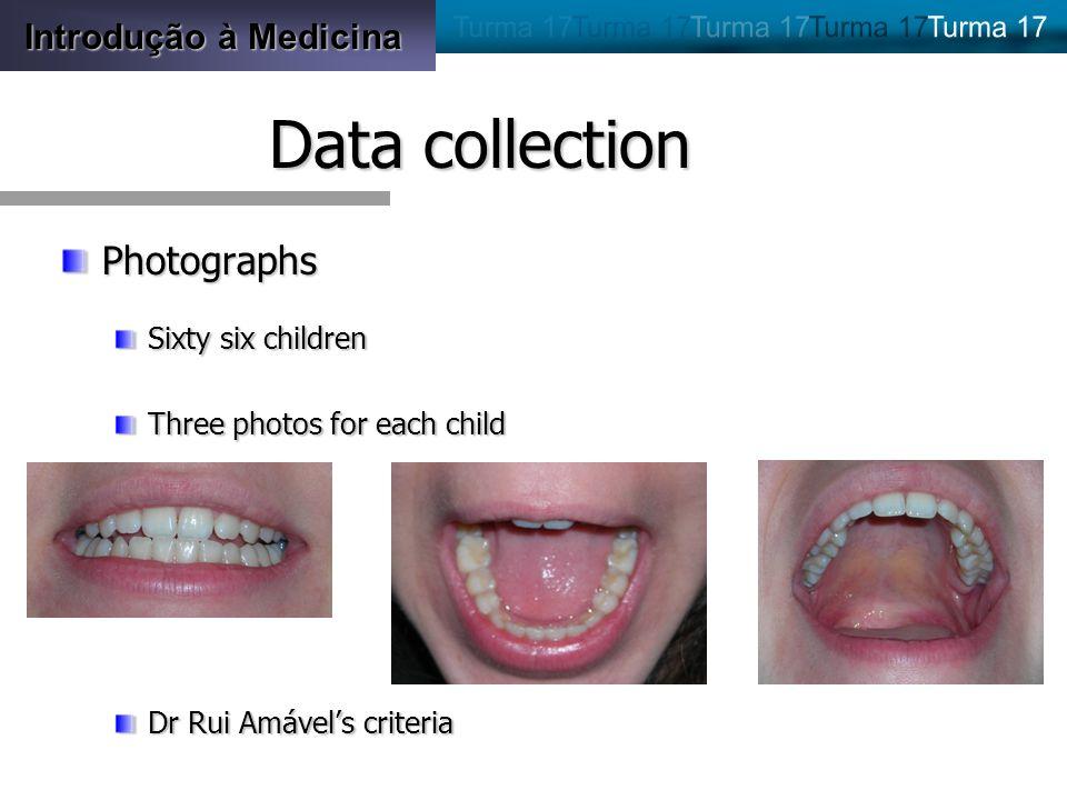 Introdução à Medicina Data collection Photographs Sixty six children Three photos for each child Dr Rui Amávels criteria