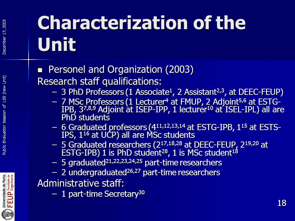 December 17, 2003 Public Evaluation Session of LSS (new Unit) 18 Characterization of the Unit Personel and Organization (2003) Personel and Organization (2003) Research staff qualifications: –3 PhD Professors (1 Associate 1, 2 Assistant 2,3, at DEEC-FEUP) –7 MSc Professors (1 Lecturer 4 at FMUP, 2 Adjoint 5,6 at ESTG- IPB, 3 7,8,9 Adjoint at ISEP-IPP, 1 lecturer 10 at ISEL-IPL) all are PhD students –6 Graduated professors (4 11,12,13,14 at ESTG-IPB, 1 15 at ESTS- IPS, 1 16 at UCP) all are MSc students –5 Graduated researchers (2 17,18,28 at DEEC-FEUP, 2 19,20 at ESTG-IPB) 1 is PhD student 28, 1 is MSc student 18 –5 graduated 21,22,23,24,25 part-time researchers –2 undergraduated 26,27 part-time researchers Administrative staff: –1 part-time Secretary 30