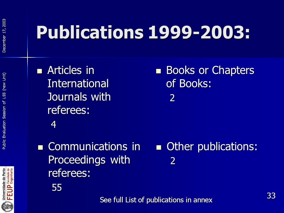 December 17, 2003 Public Evaluation Session of LSS (new Unit) 33 Publications : Articles in International Journals with referees: Articles in International Journals with referees:4 Books or Chapters of Books: Books or Chapters of Books:2 See full List of publications in annex Communications in Proceedings with referees: Communications in Proceedings with referees:55 Other publications: Other publications:2