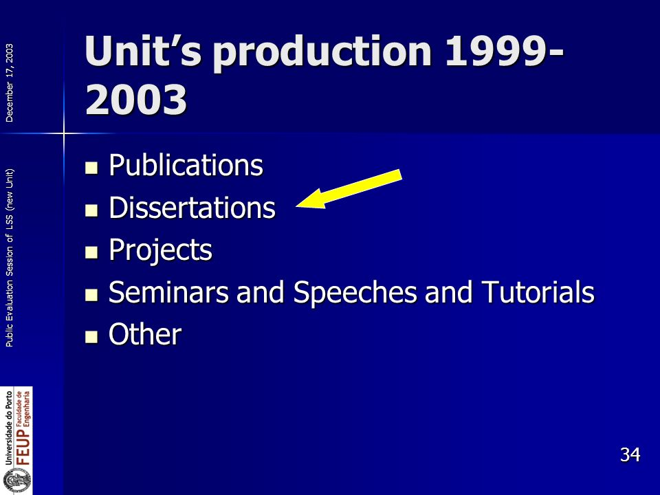 December 17, 2003 Public Evaluation Session of LSS (new Unit) 34 Units production 1999- 2003 Publications Publications Dissertations Dissertations Projects Projects Seminars and Speeches and Tutorials Seminars and Speeches and Tutorials Other Other