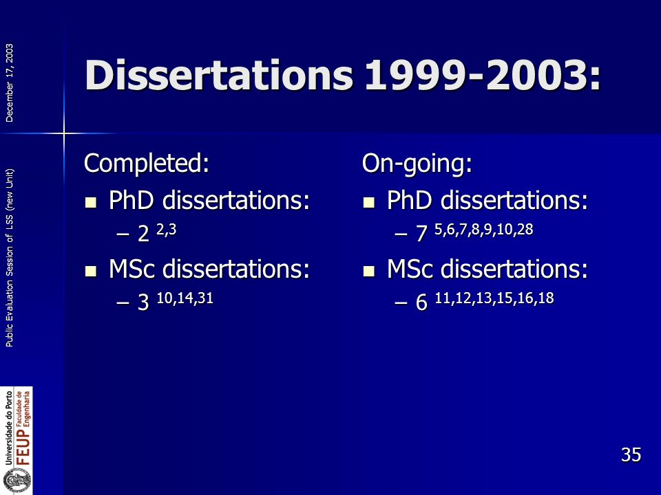 December 17, 2003 Public Evaluation Session of LSS (new Unit) 35 Dissertations : Completed: PhD dissertations: PhD dissertations: –2 2,3 MSc dissertations: MSc dissertations: –3 10,14,31 On-going: PhD dissertations: PhD dissertations: –7 5,6,7,8,9,10,28 MSc dissertations: MSc dissertations: –6 11,12,13,15,16,18