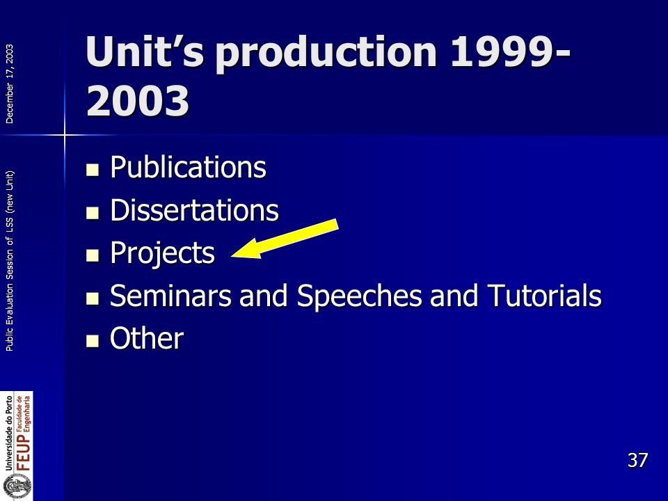 December 17, 2003 Public Evaluation Session of LSS (new Unit) 37 Units production 1999- 2003 Publications Publications Dissertations Dissertations Projects Projects Seminars and Speeches and Tutorials Seminars and Speeches and Tutorials Other Other