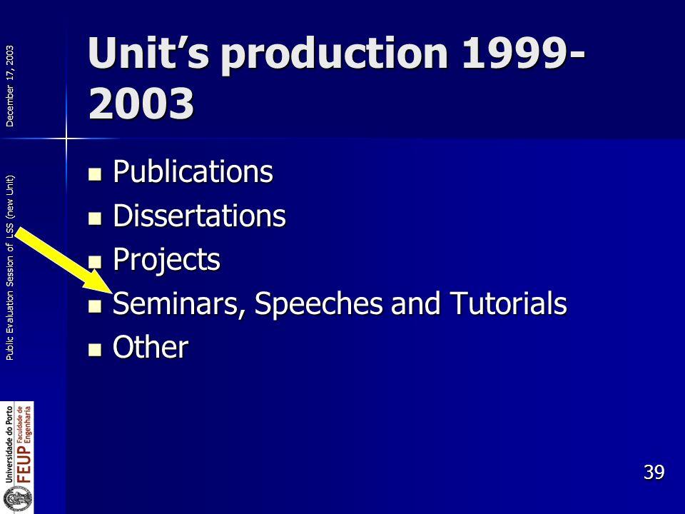 December 17, 2003 Public Evaluation Session of LSS (new Unit) 39 Units production Publications Publications Dissertations Dissertations Projects Projects Seminars, Speeches and Tutorials Seminars, Speeches and Tutorials Other Other