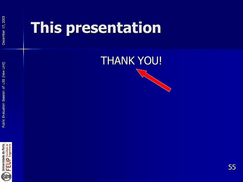 December 17, 2003 Public Evaluation Session of LSS (new Unit) 55 This presentation THANK YOU!