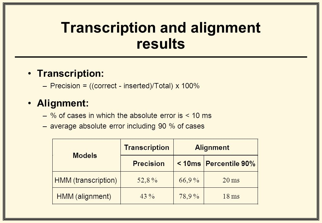 Transcription and alignment results Transcription: –Precision = ((correct - inserted)/Total) x 100% Alignment: –% of cases in which the absolute error is < 10 ms –average absolute error including 90 % of cases
