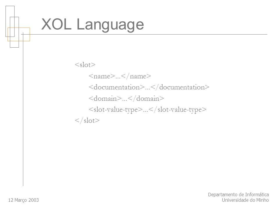 12 Março 2003 Departamento de Informática Universidade do Minho... XOL Language