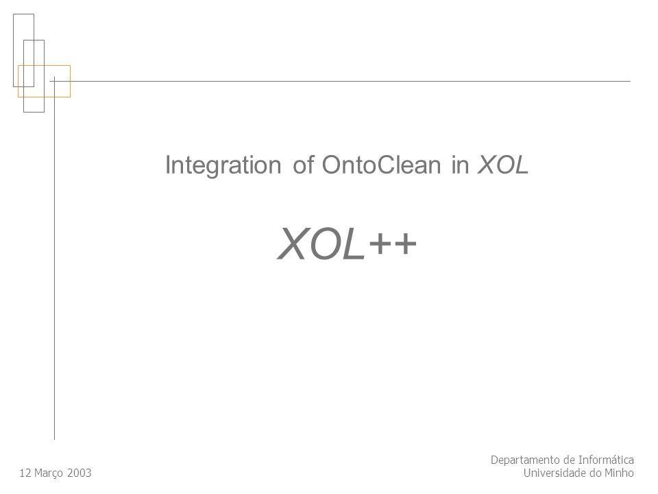 12 Março 2003 Departamento de Informática Universidade do Minho Integration of OntoClean in XOL XOL++