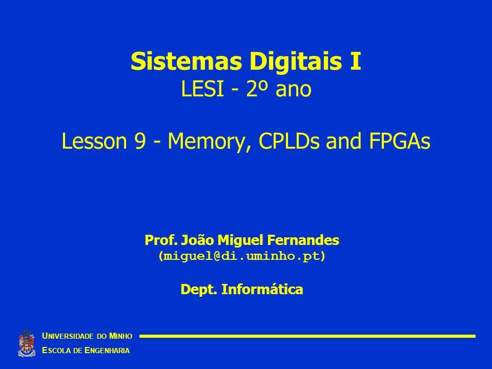 Sistemas Digitais I LESI - 2º ano Lesson 9 - Memory, CPLDs and FPGAs U NIVERSIDADE DO M INHO E SCOLA DE E NGENHARIA Prof. João Miguel Fernandes (migue