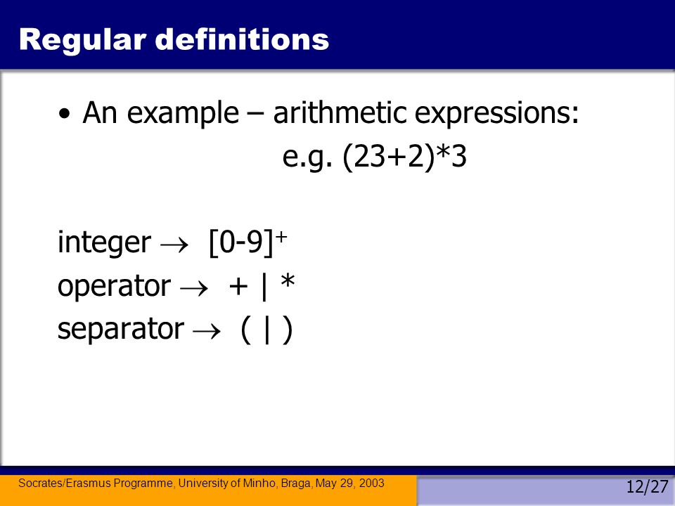 Socrates/Erasmus Programme, University of Minho, Braga, May 29, 2003 12/27 Regular definitions An example – arithmetic expressions: e.g.