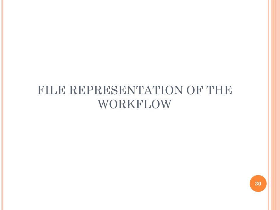 FILE REPRESENTATION OF THE WORKFLOW 30