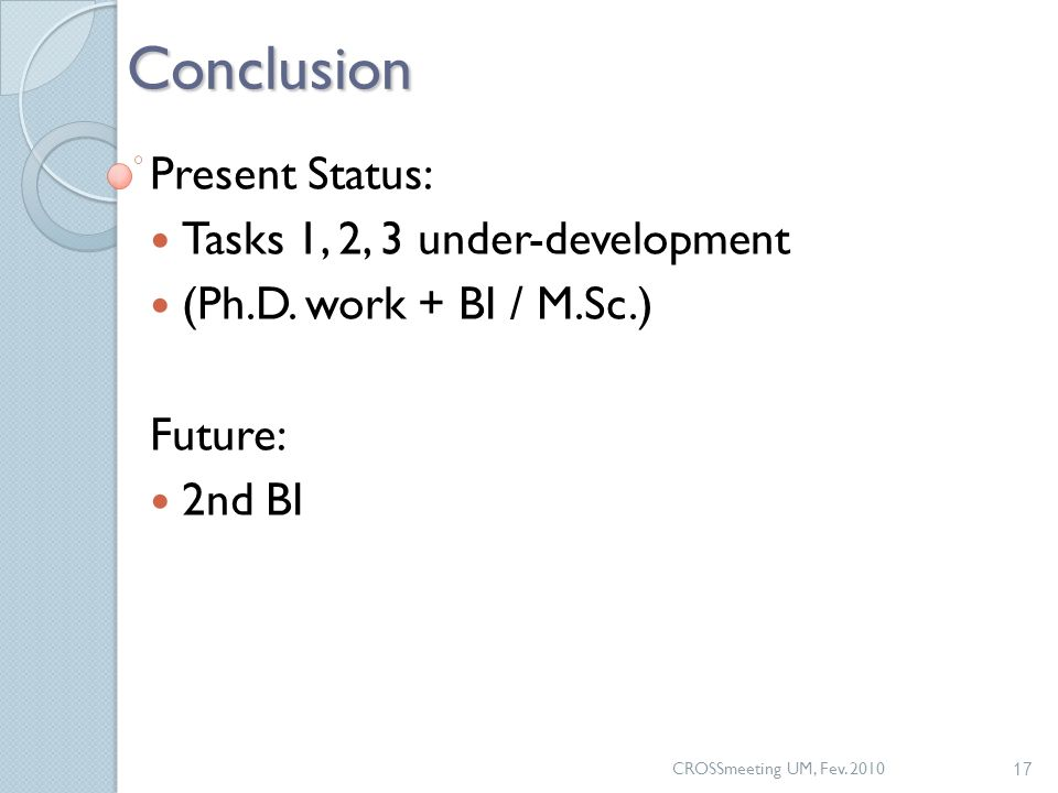 CROSSmeeting UM, Fev. 2010 17Conclusion Present Status: Tasks 1, 2, 3 under-development (Ph.D. work + BI / M.Sc.) Future: 2nd BI