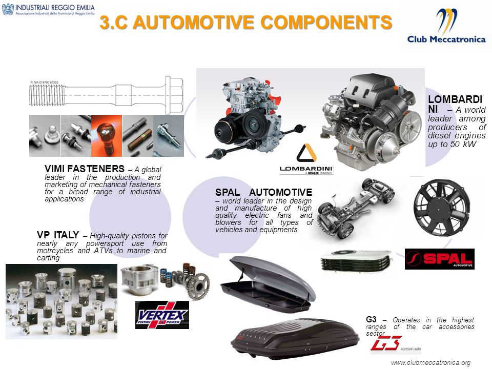 3.C AUTOMOTIVE COMPONENTS www.clubmeccatronica.org VP ITALY – High-quality pistons for nearly any powersport use from motrcycles and ATVs to marine an