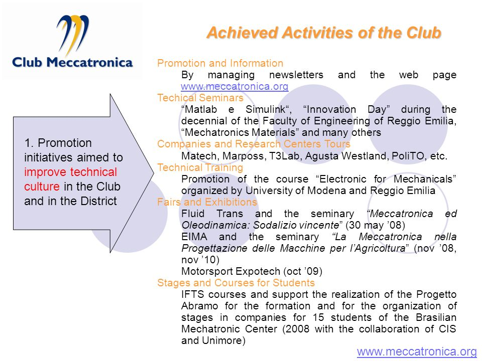 Promotion and Information By managing newsletters and the web page www.meccatronica.org www.meccatronica.org Techical Seminars Matlab e Simulink, Inno