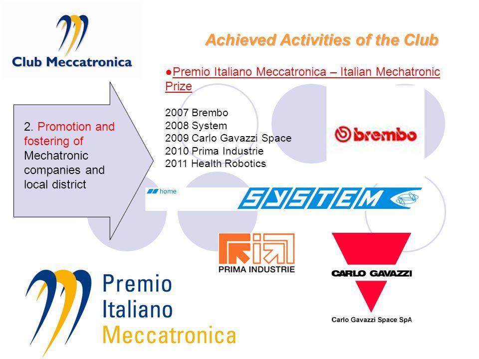 Premio Italiano Meccatronica – Italian Mechatronic Prize 2007 Brembo 2008 System 2009 Carlo Gavazzi Space 2010 Prima Industrie 2011 Health Robotics 2.