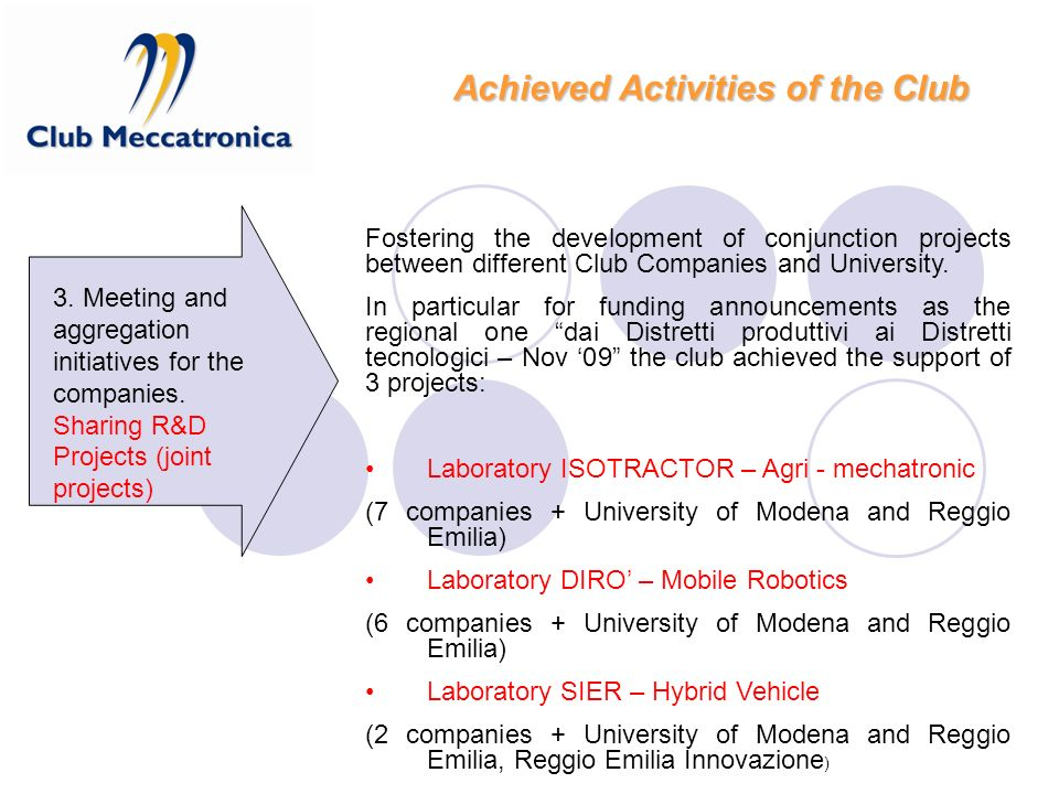 Fostering the development of conjunction projects between different Club Companies and University. In particular for funding announcements as the regi