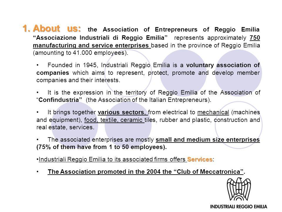 1.About us: 1.About us: the Association of Entrepreneurs of Reggio Emilia Associazione Industriali di Reggio Emilia represents approximately 750 manuf
