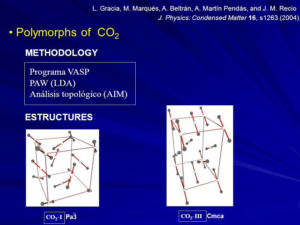 Polymorphs of CO 2 CO 2 -I Pa3 CO 2 -III Cmca Programa VASP PAW (LDA) Análisis topológico (AIM) METHODOLOGY ESTRUCTURES J. Physics: Condensed Matter 1