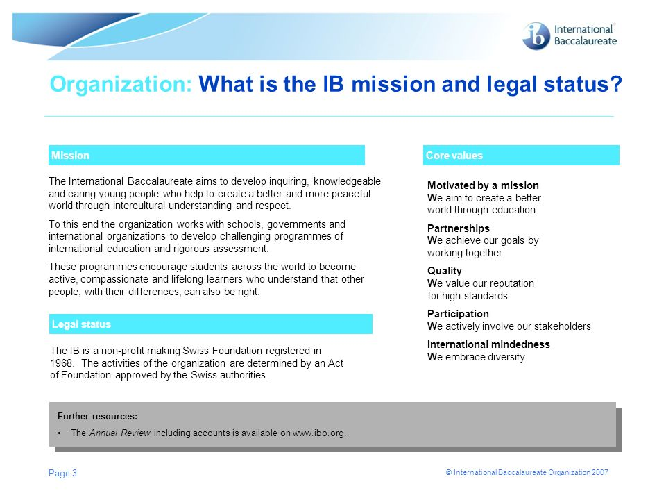 © International Baccalaureate Organization 2007 Page 3 Mission Organization: What is the IB mission and legal status? The International Baccalaureate